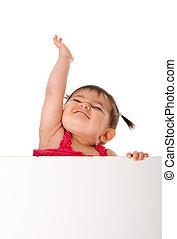 Feliz, bebê, segurando, branca, tábua,...