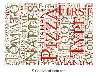 A Brief History of Pizza The Dish that Conquered the World text background word cloud concept