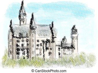 Neuschwanstein castle abstract multicolo vector illustration