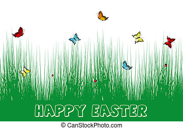 Happy Easter card with grass and butterflies