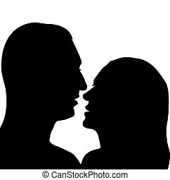 Man and woman preparing for a kiss