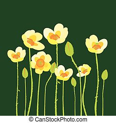 Yellow poppies on green background