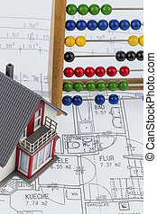 house, abacus, plan, symbol photo for house construction,...