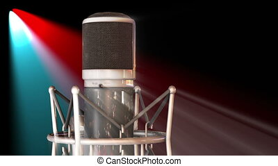Stage vocal microphone in stage lights on concert - classic...
