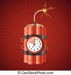Detonate Dynamite Bomb and Timer Clock. Vector - Detonate...