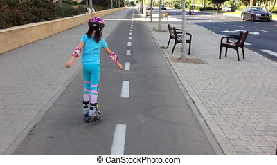 Girl on roller blades - Shot of Girl on roller blades