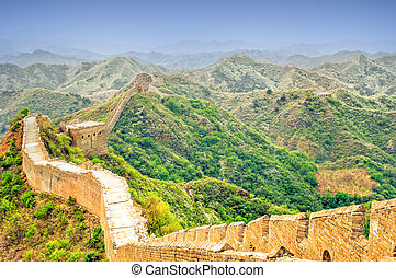 Great wall by jinshanling in China - View on great wall by...