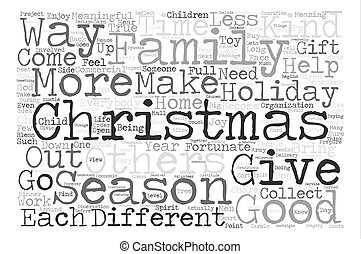 A Different Kind of Christmas text background word cloud...