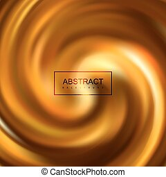 Golden swirling caramel whirlpool. Vector illustration of...