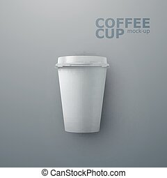 Paper coffee cup mock-up. Vector realistic 3d illustration....