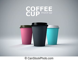 Paper coffee cups mock-up. Vector realistic 3d illustration....