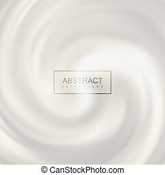 White swirling milk whirlpool. Vector illustration of...