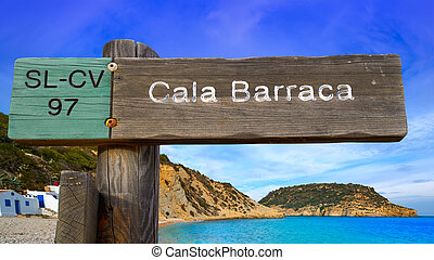 Cala Barraca beach sign in Xabia Javea photomount on...