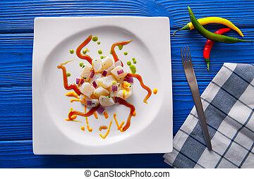 Ceviche, estilo, moderno, receta, gastronomía