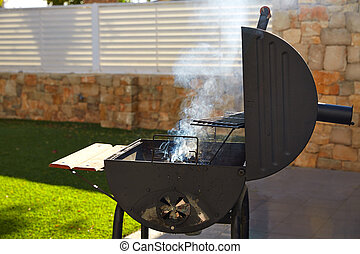 Barbecue with smoke side view