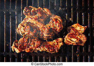 Barbecue with coal and meat