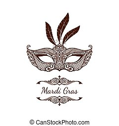 Beautiful mask of lace. Mardi Gras vector background -...