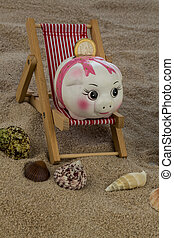 deckchair with piggy bank and euro - deckchair with euro...