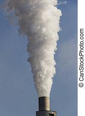 smoking chimneys - from an smokestacks smokes white smog