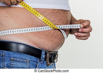 man with overweight. symbol photo for beer belly,...