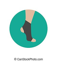 Neoprene brace on the ankle on the green background. Vector...