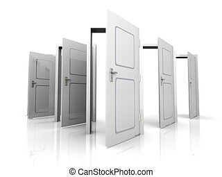 Open Doors - 3D rendered Illustration. All Doors are opened...