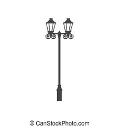 Street light silhouette on a white background. Vector...