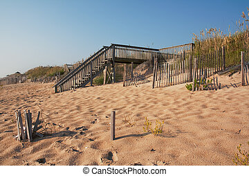 Wooden stairway over a sand dune - Wooden stairs over a sand...