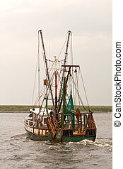Fishing trawler on Pamlico Sound vertical - View of the...