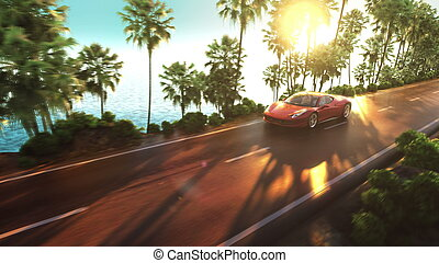 sports car driving on a mountain road over the ocean. 3d...