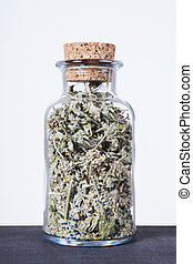 Dried lemon balm herb inside a glass jar.