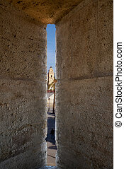 Torres de Serrano towers in Valencia old city door at spain