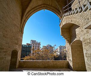 Torres de Serrano towers arch in Valencia old city door at...