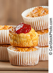 Homebaked Ham And Cheese Muffins In Paper Cases. Ketchup. -...