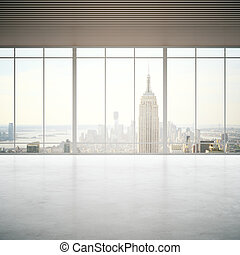 Concrete room with city view - Empty concrete room with...