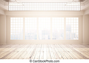Unfurnished office - Bright interior with concrete walls,...