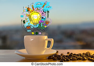 Business idea concept - Close up of coffee cup and beans on...