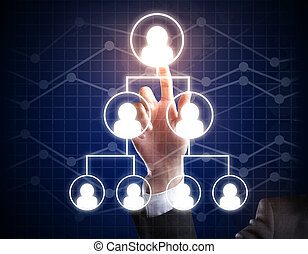 Hierarchy concept - Hand pointing at abstract staff pyramid....