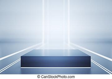 Dark rectangular pedestal in light futuristic room. Mock up,...