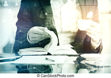 Young accountant at workplace - Close up of young woman's...