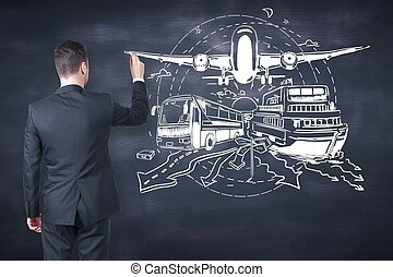 Transport concept - Businessman drawing bus, ship and...