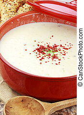 Potato Soup - Homemade potato soup garnished with bacon bits...