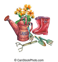 Vintage red garden watering can with a bouquet of yellow flowers, red rubber boots and garden tools.