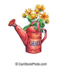 Vintage red garden watering can with a bouquet of yellow flowers.