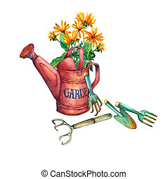Vintage red garden watering can with a bouquet of yellow flowers and garden tools.