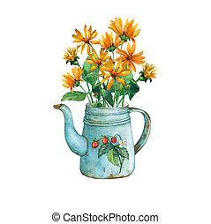 Vintage blue metal teapot with a bouquet of yellow flowers.