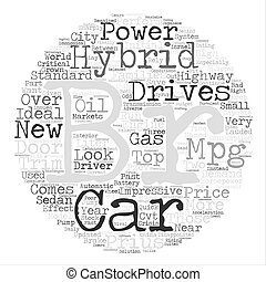 A Quick Look On Hybrid Cars text background word cloud...