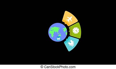 Earth revolves around the messages appear with icons, and...