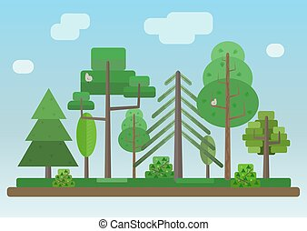 Flat Style Forest on Blue Sky Background - Flat Style Forest...