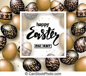 Happy Easter luxury banner background template with...